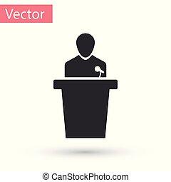 ícone, experiência., cinzento, ilustração, isolado, pessoa, vetorial, orador, podium., orador, branca, tribune., discurso público, speech.