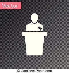 ícone, experiência., isolado, ilustração, transparente, pessoa, vetorial, orador, podium., orador, branca, tribune., discurso público, speech.