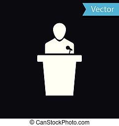 ícone, experiência., orador, isolado, ilustração, pessoa, vetorial, pretas, podium., orador, branca, tribune., discurso público, speech.
