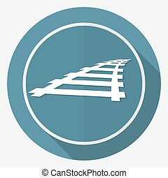 ícone, ferrovia, branco, círculo, com, um, longo, sombra