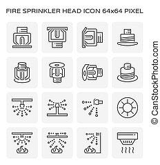 ícone, fogo, irrigador