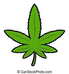 ícone, folha, caricatura, marijuana