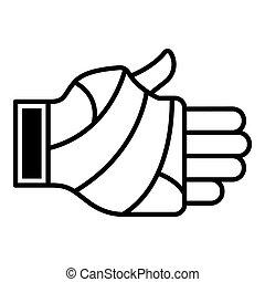 ícone, frostbite, estilo, esboço, mão