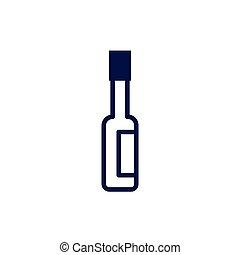 ícone, garrafa, isolado, molho quente