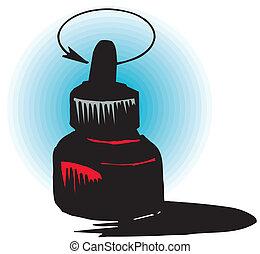 ícone, garrafa, tinta, vetorial