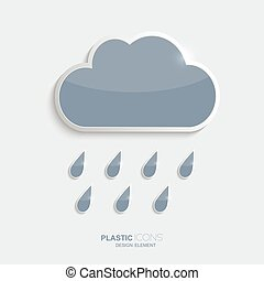 ícone, gotas, nuvens, chuva, plástico