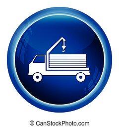 ícone, guindaste, caminhão