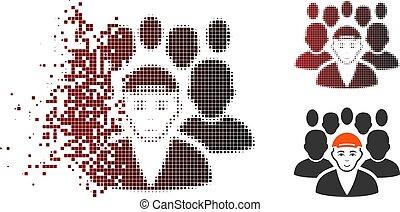 ícone, halftone, desintegração, rosto, líder, ponto, pessoal
