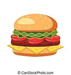 ícone, hambúrguer, estilo, caricatura