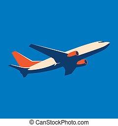 ícone, illustration., experiência., azul, vetorial, avião
