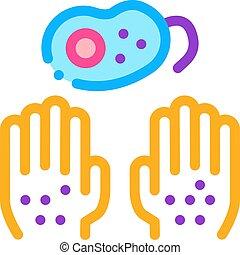 ícone, ilustração, bactérias, esboço, mãos sujas