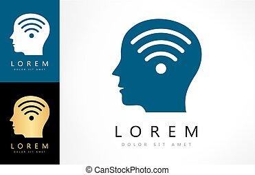 ícone, ilustração, cabeça, macho, wifi