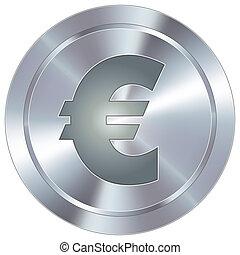 ícone, industrial, euro, botão