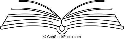ícone, interessante, livro, esboço, style.