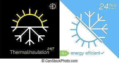 ícone, isolação, térmico, temperatura