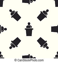 ícone, isolado, pessoa, padrão, seamless, ilustração, cinzento, experiência., vetorial, orador, podium., orador, branca, tribune., discurso público, speech.