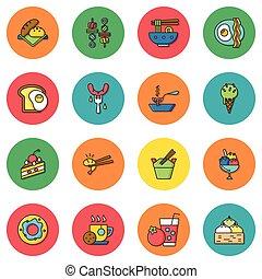ícone, jogo, alimento