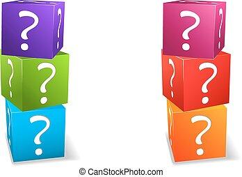 ícone, jogo, cubos, com, marca pergunta