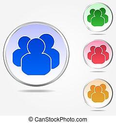 ícone, jogo, grupo, coloridos, pessoas
