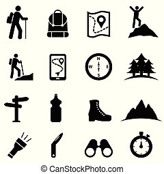 ícone, jogo, lazer, hiking, recreação