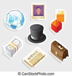 ícone, jogo, negócio, global, adesivo