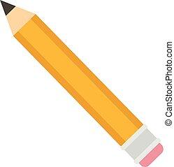ícone, lápis, estilo, amarela, apartamento