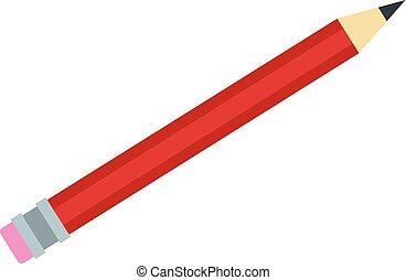 ícone, lápis, estilo, vermelho, apartamento