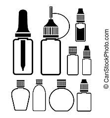 ícone, -, líquido, garrafa, conjuntos