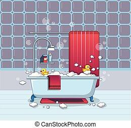 ícone, lar, banheiro, estilo, caricatura