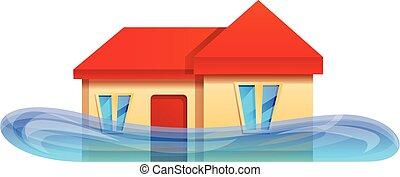 ícone, lar, estilo, caricatura, inundação