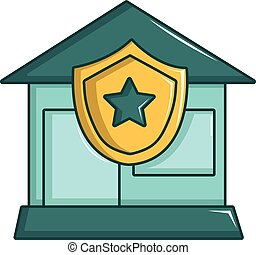 ícone, lar, estilo, protegido, caricatura