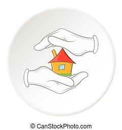 ícone, lar, estilo, segurança, caricatura
