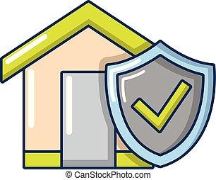 ícone, lar, estilo, seguro, caricatura