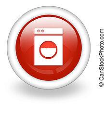 ícone, laundromat, botão, pictograma