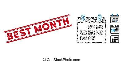 ícone, linha, arranhado, mosaico, selo, mês, calendário, melhor