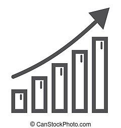 ícone, linha, crescimento, financeiro, negócio