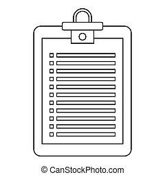 ícone, lista de verificação, estilo, esboço