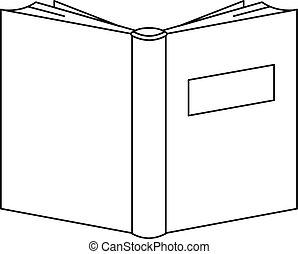 ícone, livro, educação, style., esboço