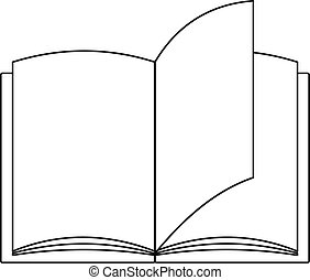 ícone, livro, papel, style., esboço