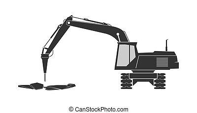 ícone, localizado, escavador