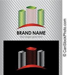 ícone, logotipo, abstratos, vetorial, predios