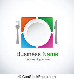 ícone, logotipo, restaurante