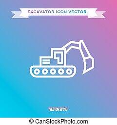 ícone, logotipo, vetorial, esboço, escavador