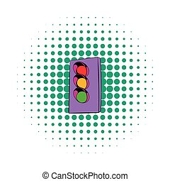 ícone, luz, estilo, tráfego, cômico