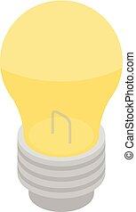 ícone, luz, isometric, estilo, bulbo