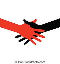 ícone, mão, coloridos, abanar