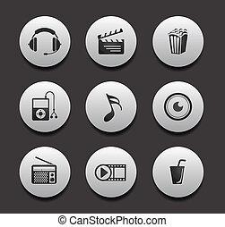 ícone, música, entretenimento, &