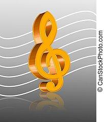 ícone, música, ilustração, 3d