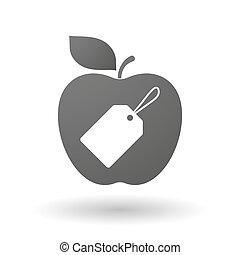 ícone, maçã, etiqueta