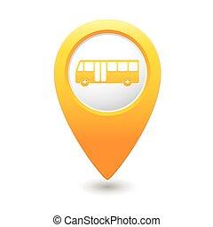 ícone, mapa, autocarro, ponteiro